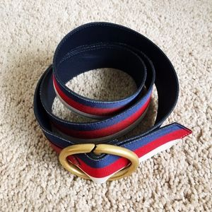 Gucci Web strap belt in red and blue with D-ring